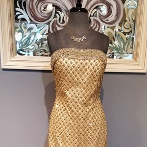 JVN Gold Short Dress